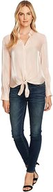 Vince Camuto Long Sleeve Button-Down Tie Front Iri