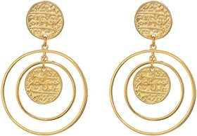 Kenneth Jay Lane Craved Coin Top Double Circle/Cra
