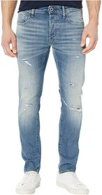 G-Star 3301 Slim Jeans in Worn in Ripped Blue Fade