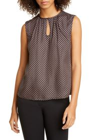 TAILORED BY REBECCA TAYLOR Deco Dot Sleeveless Sil