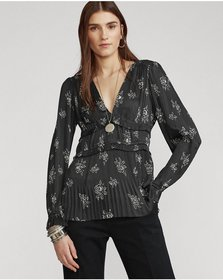 Ralph Lauren Pleated Rose-Print Blouse