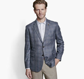 Johnston Murphy Layered Slub Plaid Blazer