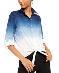 INC Cotton Ombré Tie-Front Shirt, Created for Macy