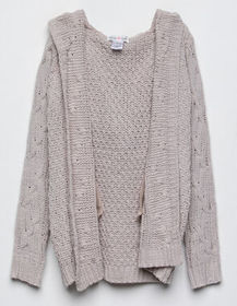 WOVEN HEART Cable Knit Girls Hooded Cardigan_