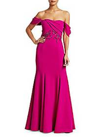 Off-The-Shoulder Embellished Bodice Gown BERRY