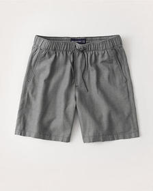 Linen-Blend Pull-On Shorts, GREY
