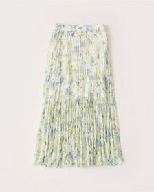 Pleated Chiffon Midi Skirt, GREEN PATTERN