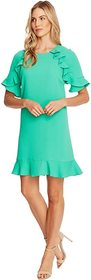 CeCe Short Sleeve Ruffled Moss Crepe Shift Dress