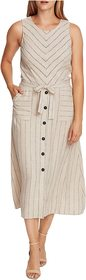 Vince Camuto Sleeveless Natural Stripe Two-Pocket