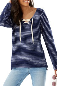 Tommy Bahama Catalina Striped Lace-Up Knit Tunic