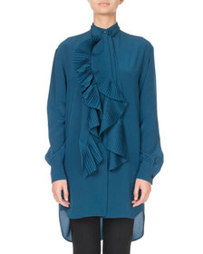 Givenchy Tie-Neck Pleated Ruffled Button-Front Blo
