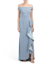 CARMEN MARC VALVO INFUSION Ruffle Front Crepe Gown