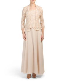 EMMA STREET 2pc Chiffon Gown & Jacket Set