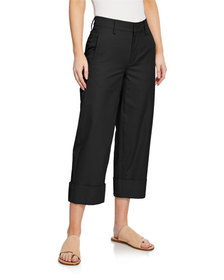 Vince Cuffed Wide-Leg Crop Cotton Pants