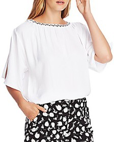 VINCE CAMUTO - Studded Boat-Neck Top