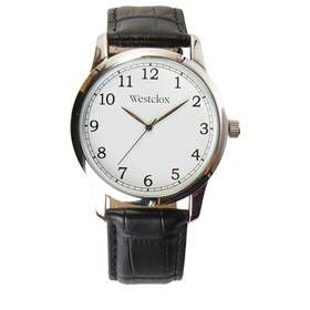 Mens Westclox Silver Case Black Leather Strap Watc