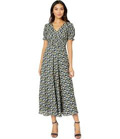 Tahari by ASL Short Puff Sleeve Printed Midi Dress