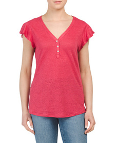 C&C CALIFORNIA Linen V-neck Top