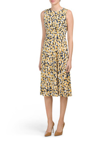 LONDON TIMES Scattered Petals Printed Jersey Midi