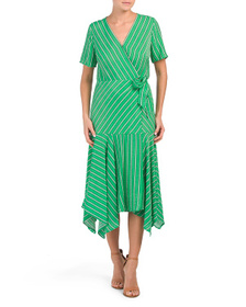 VINCE CAMUTO Striped Wrap Dress