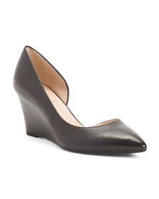 FRANCO SARTO D'orsay Wedge Leather Pumps
