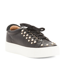 JOIE Faux Pearl Leather Sneakers