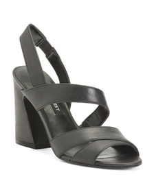 NINE WEST Strappy Flare Heel Leather Sandals