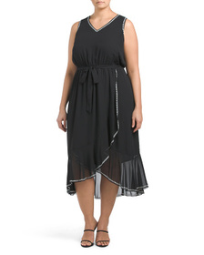 VINCE CAMUTO Plus Ruffle Hem Belted Dress