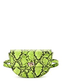 Scoop Women's Yellow Faux Snake Print Belt Bag