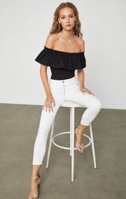 BCBG Off-Shoulder Ruffle Bodysuit