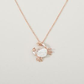 Womens Ellen Tracy Pink Flash Plated Crystal Crab
