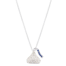 Womens Silver Plated Brass Hershey Kiss Crystal Pe