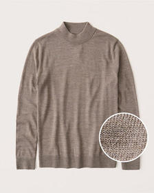 Fine Gauge Mockneck Sweater, LIGHT BROWN