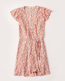 Wrap-Front Dress, ORANGE FLORAL