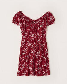 Ruched Neck Mini Dress, RED FLORAL