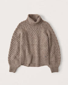 Cable Turtleneck Sweater, BROWN