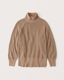 Oversized Chenille Mockneck Sweater, CAMEL BROWN