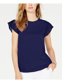 MICHAEL KORS Womens Navy Short Sleeve Crew Neck To