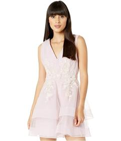 BCBGMAXAZRIA Embroidered Tulle Cocktail Dress