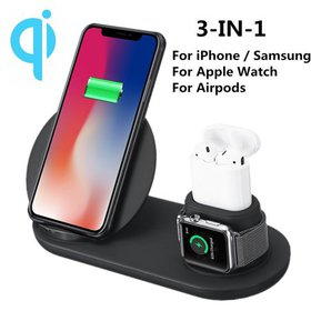3 IN 1 Qi Fast Charger Pad Stand Wireless Charging