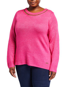 MICHAEL Michael Kors Plus Size Long-Sleeve Chain-N
