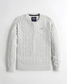 Hollister Cable Crewneck Sweater, LIGHT HEATHER GR