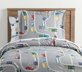 Pottery Barn Organic Maxwell Train Duvet Cover