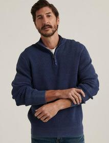 Lucky Brand 1/2 Zipped Washed Cotton Mock Neck