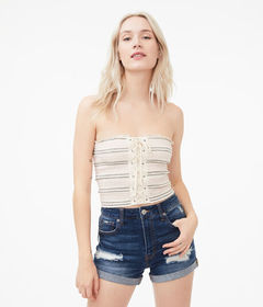 Aeropostale Stripe Lace-Up Smocked Cropped Tube To