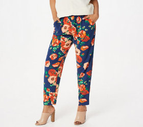 """As Is"" Du Jour Pull-On Printed Woven Ankle Pants"