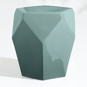 Crate Barrel Faceted Ceramic Diamond Teal End Tabl