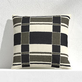 "Crate Barrel Mohave Plaid 20"" Outdoor Pillow"