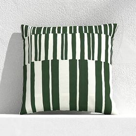 "Crate Barrel Striped Lines Green 20"" Outdoor Pillo"