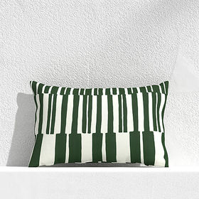 "Crate Barrel Striped Lines Green 20""x13"" Outdoor P"